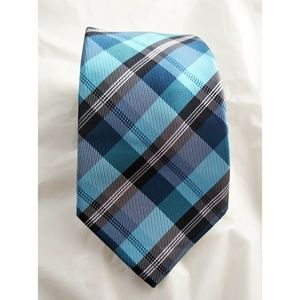 Mens Alexander Julian Colours Tie Blue Black Plaid